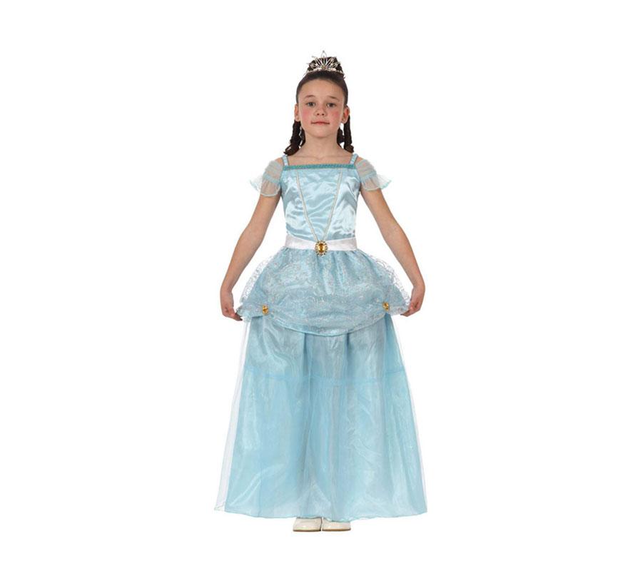 Disfraz de Princesa Azul para niñas de 7 a 9 años. Incluye vestido. Corona NO incluida, podrás verla en la sección de Complementos.