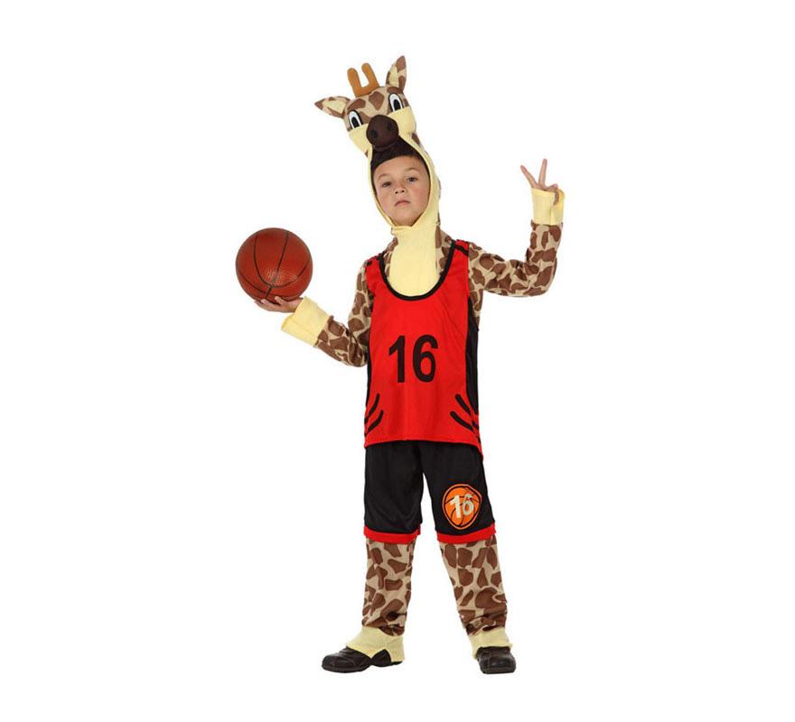 Disfraz de Jirafa Deportista o de Jirafa jugador de Baloncesto para niños de 7 a 9 años. Incluye disfraz completo tal y como se muestra en la imagen sin los zapatos, ni el balón.