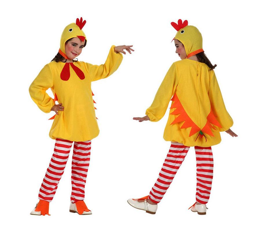 Disfraz de Pollito amarillo para niñas de 7 a 9 años, Incluye pantalón, camiseta y gorro. Disfraz de Pollo.