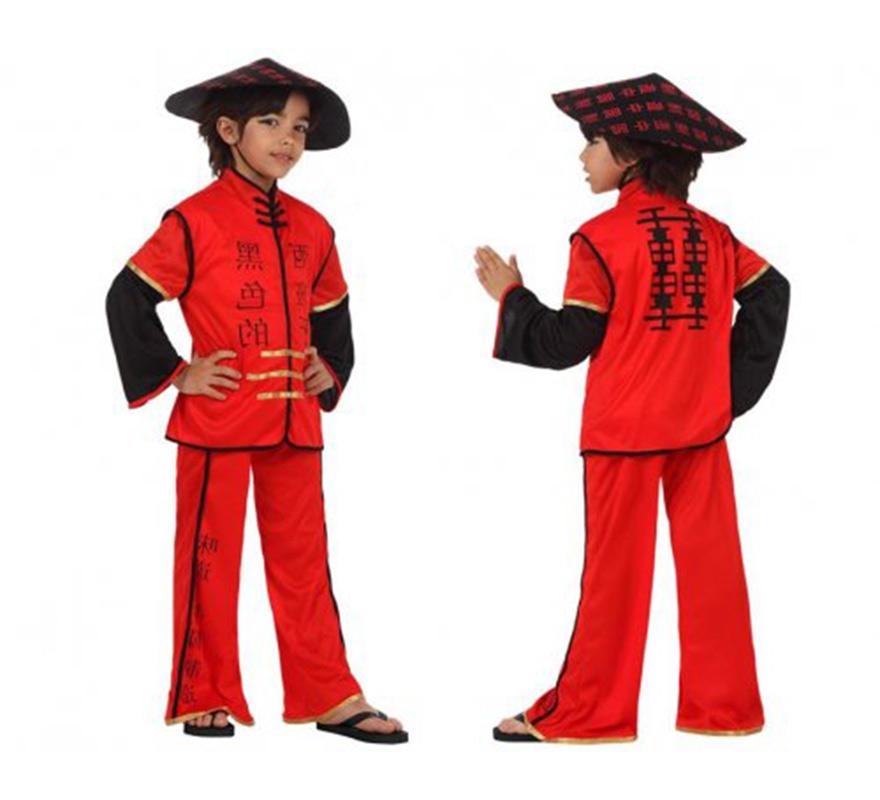 Disfraz de Chino rojo para niños de 3 a 4 años. Incluye sombrero, camisa y pantalón.