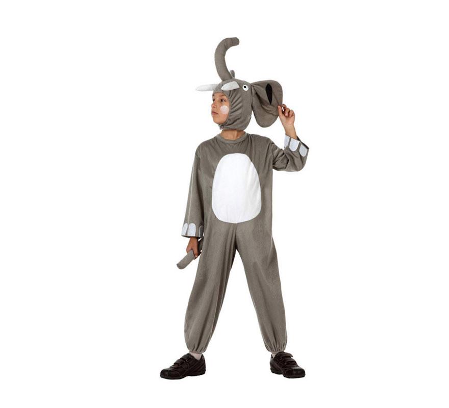 Disfraz de Elefante para niños de 5 a 6 años. Incluye mono y capucha.