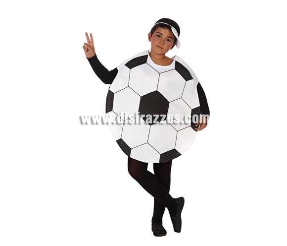 Disfraz de Balón de Fútbol o de Pelota para niños de 3 a 4 años. Incluye disfraz de balón y gorra. Mono negro NO incluido, podrás verlo en la sección de Complementos.