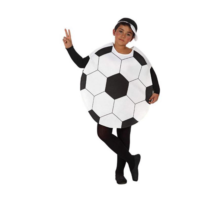 Disfraz de Balón de Fútbol o de Pelota para niños de 7 a 9 años. Incluye disfraz de balón y gorra. Mono negro NO incluido, podrás verlo en la sección de Complementos.