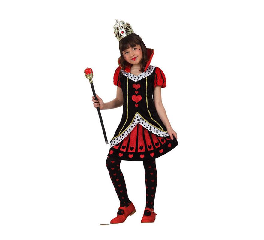 Disfraz de Dama de Corazones para niñas 7 a 9 años. Incluye falda y camisa. Resto de accesorios NO incluidos, podrás verlos en la sección de Complementos.