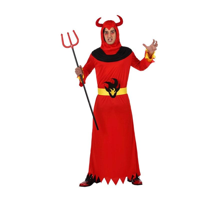 Disfraz de Demonio o Diablo llamas para hombre. Talla XL 54/58. Incluye túnica y cinturón. Tridente NO incluido, podrás verlo en la sección de Complementos.