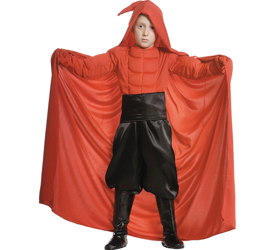 Disfraz de Diablo o Demonio Lucifer para niño. Varias tallas. Incluye camisa, pantalón-cubrebotas, fajín y capa.
