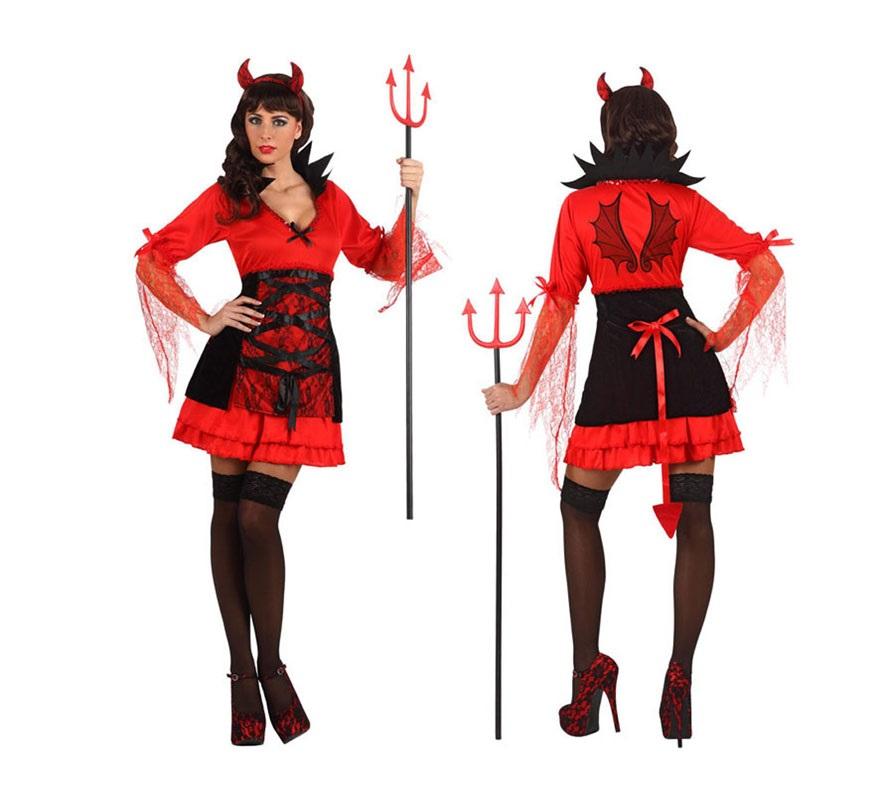 Disfraz de Demonia o Diablesa Sexy para mujeres talla S 34/38 para chicas delgadas o adolescentes. Incluye vestido y diadema. Tridente NO incluido, podrás verlo en la sección de Complementos.