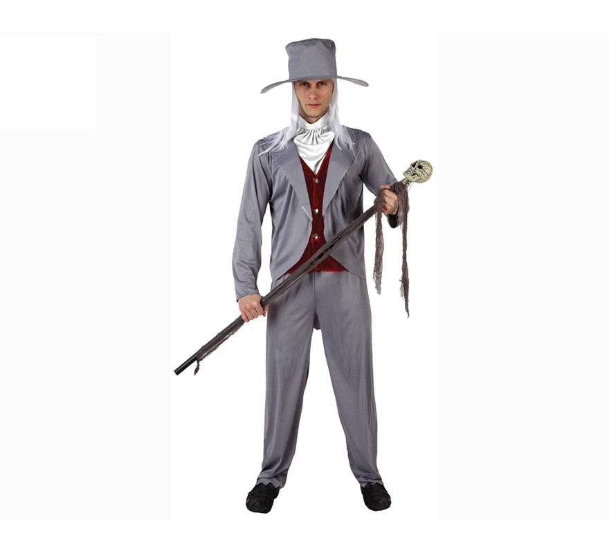 Disfraz de Novio de las Tinieblas para hombre. Talla XL 54/58. Cetro o Bastón NO incluido. Incluye camisa con cahaleco, pantalon, cuello y sombrero.