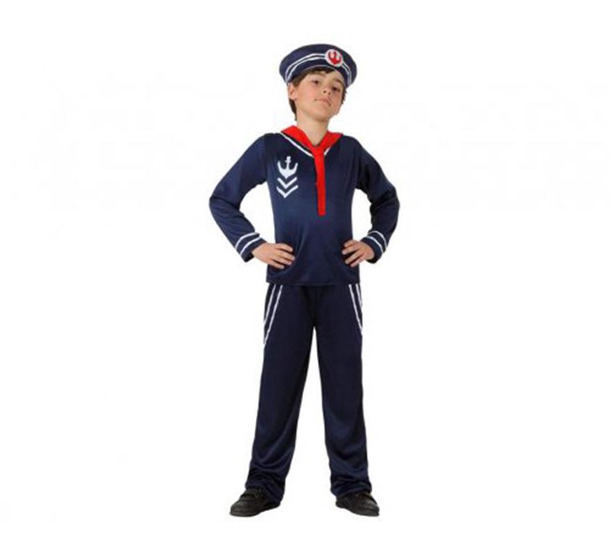 Disfraz de Marinero azul para niños 5 a 6 años. Incluye pantalón, camisa, corbata - pañuelo y gorra.