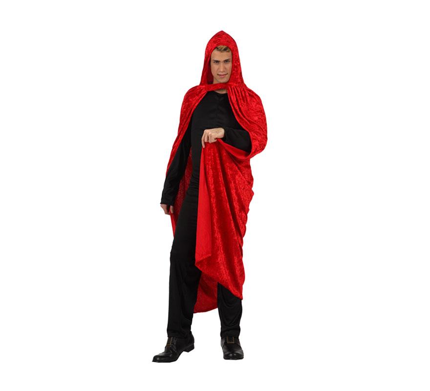 Capa roja de terciopelo para adultos. Talla Universal de adultos.