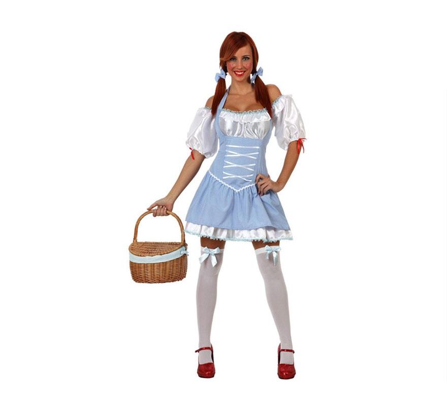 Disfraz de Chica Dorotea para chica. Talla S 34/38 para chicas delgadas y para adolescentes. Incluye top, vestido y lazitos para el pelo, resto de accesorios NO incluidos. Con éste disfraz irás igual que Dorothy en El Mago de Oz.