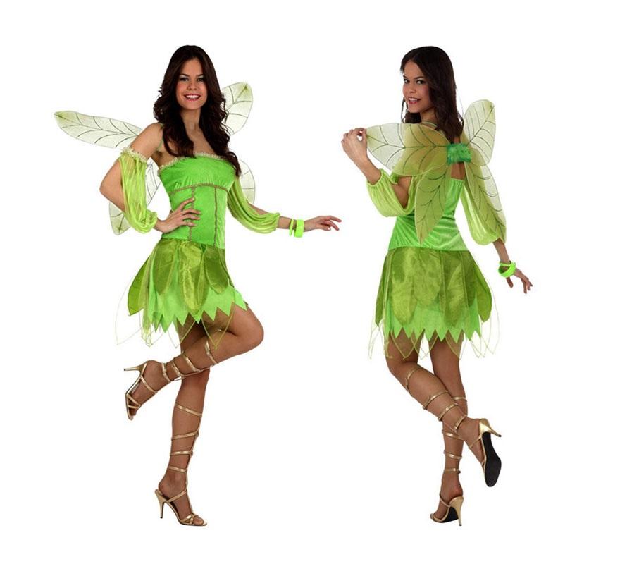 Disfraz Hada del Otoño verde para mujer. Talla S para chicas delgadas y adolescentes.. Incluye vestido, mangas y alas.