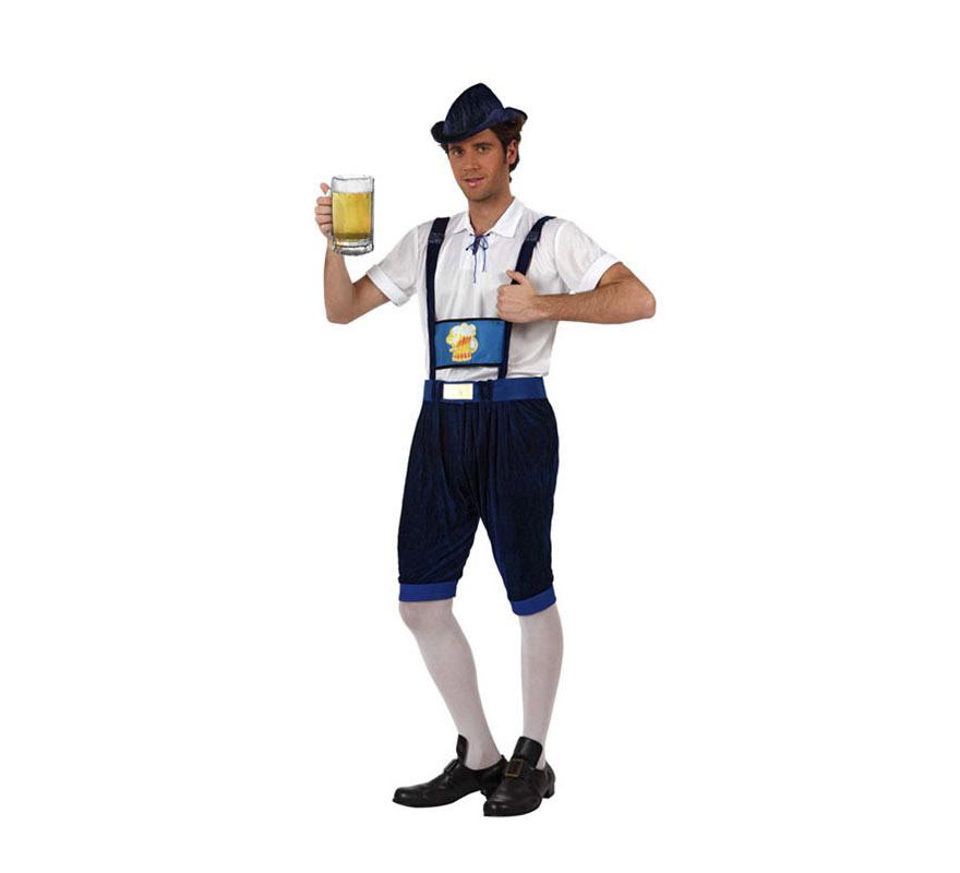 Disfraz de Alemán Tradicional para hombre. Talla XL 54/58. Incluye pantalón, camisa, gorro y cinturón. También es perfecto como disfraz de Tirolés para chicos. Ideal para la Fiesta del Oktoberfest y San Patricio.