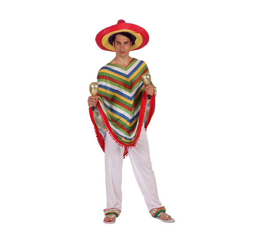 Disfraz de Mejicano para hombre. Talla 4 ó talla XXL 58/62. Incluye poncho y pantalón. Maracas y sombrero NO incluidos, podrás encontrar en nuestra sección de Complementos.
