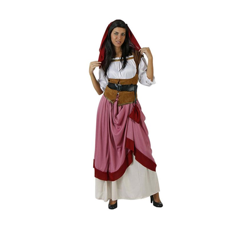 Disfraz de Moza Criada Medieval para mujer. Talla 4 ó talla XXL = 48/52. Incluye tocado, falda, camisa, chaleco y cinturón. Éste traje de Mesonera o Posadera de mujer es perfecto para las Ferias Medievales.