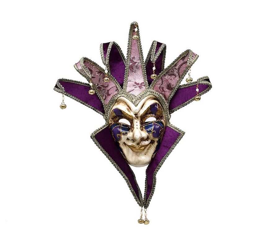 Máscara Veneciana Arlequín con cascabeles púrpura.