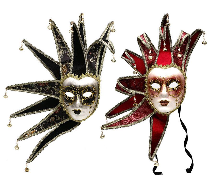 Máscara Veneciana Arlequín. Talla Universal. Dos colores surtidos. Precio por unidad, se venden por separado.