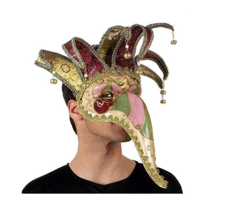 Máscara Veneciana con pico largo. Talla universal.