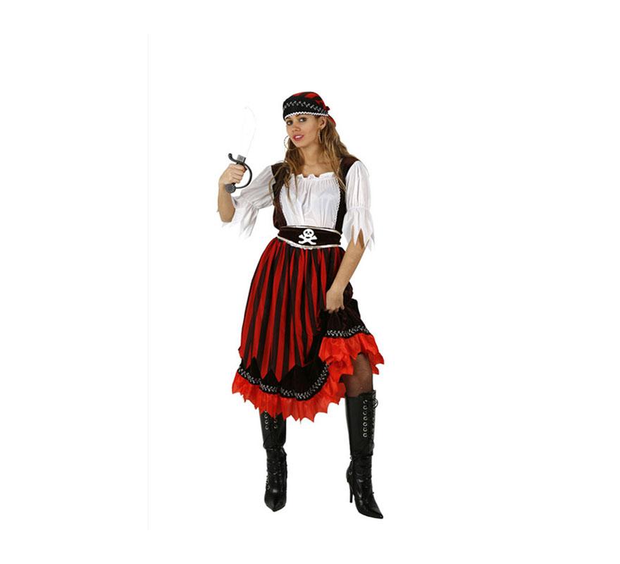 Disfraz barato de Pirata rayas para mujer talla XXL