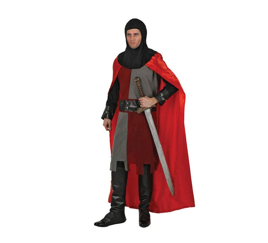 Disfraz de Caballero Medieval rojo para hombre. Talla XL 54/58. Espada NO incluida, podrás verla en la sección de Complementos.