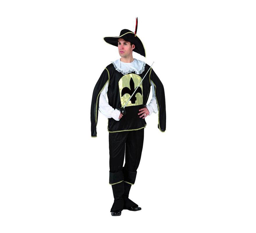 Disfraz de Mosquetero Negro para hombre. Talla XL 54/58. Incluye disfraz completo. Florete o Espada NO incluida, podrás verla en la sección de Complementos.