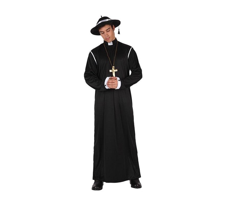 Disfraz de Sacerdote para hombre. Talla 3 ó talla XL 54/58. Disfraz de Cura o de Padre.  Incluye túnica, cruz y sombrero.