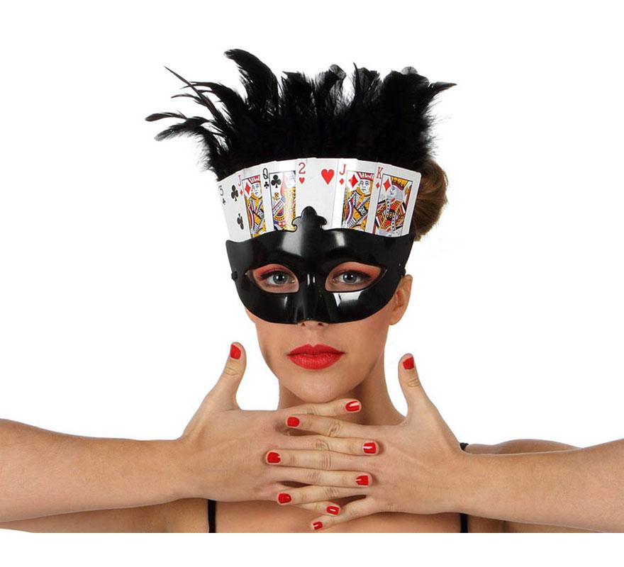 Máscara o Antifaz de Cartas de Póker con plumas. Talla universal.