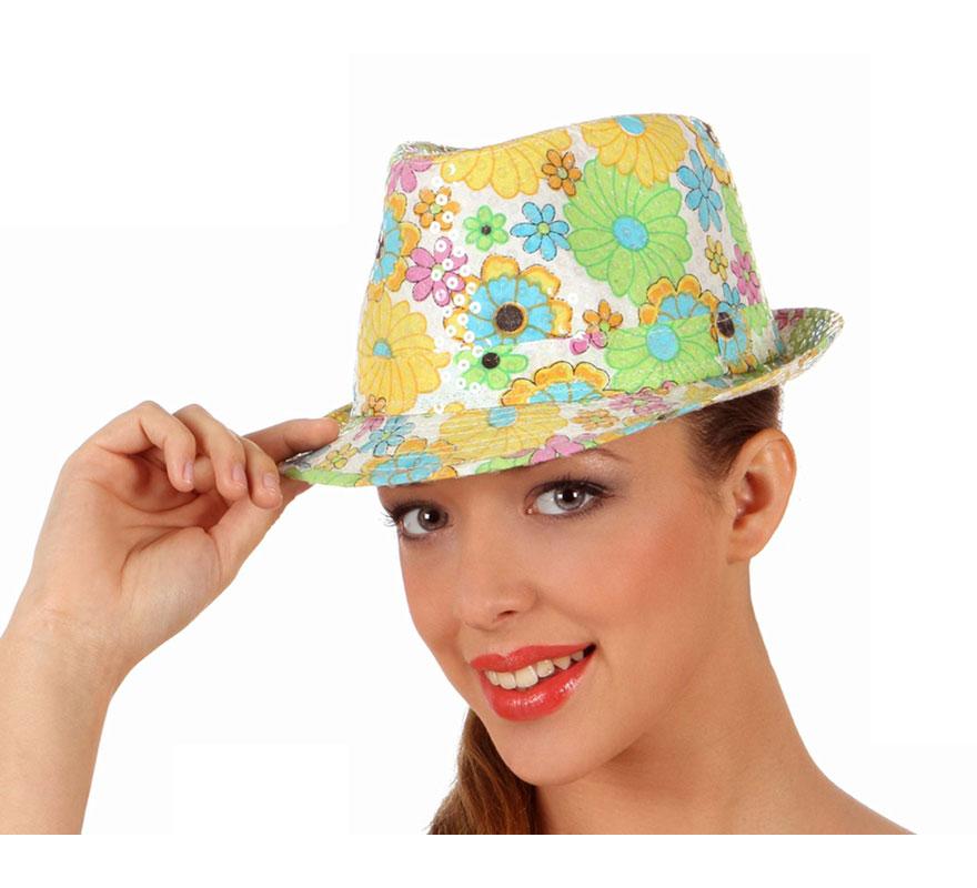 Sombrero o Gorro de Hippie con flores.