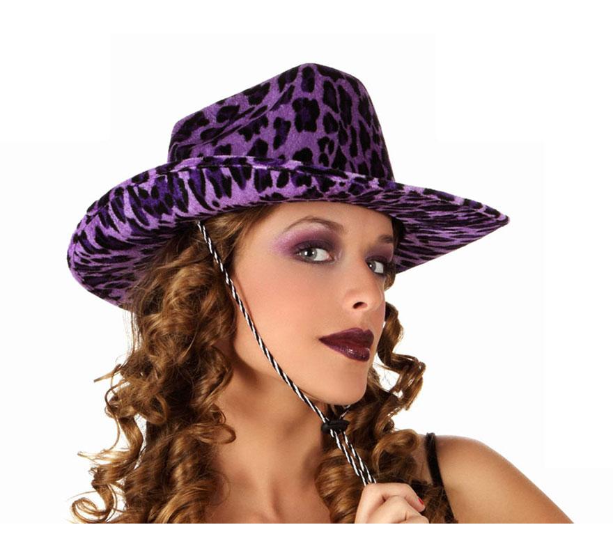 Sombrero vaquero Leopardo de terciopelo violeta. Perfecto para Despedidas de Soltero o Soltera.