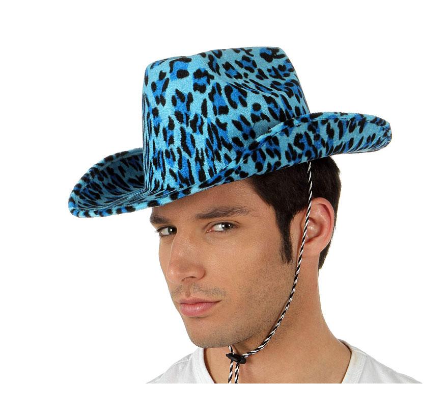 Sombrero vaquero Leopardo de terciopelo azul. Perfecto para Despedidas de Soltero o Soltera.