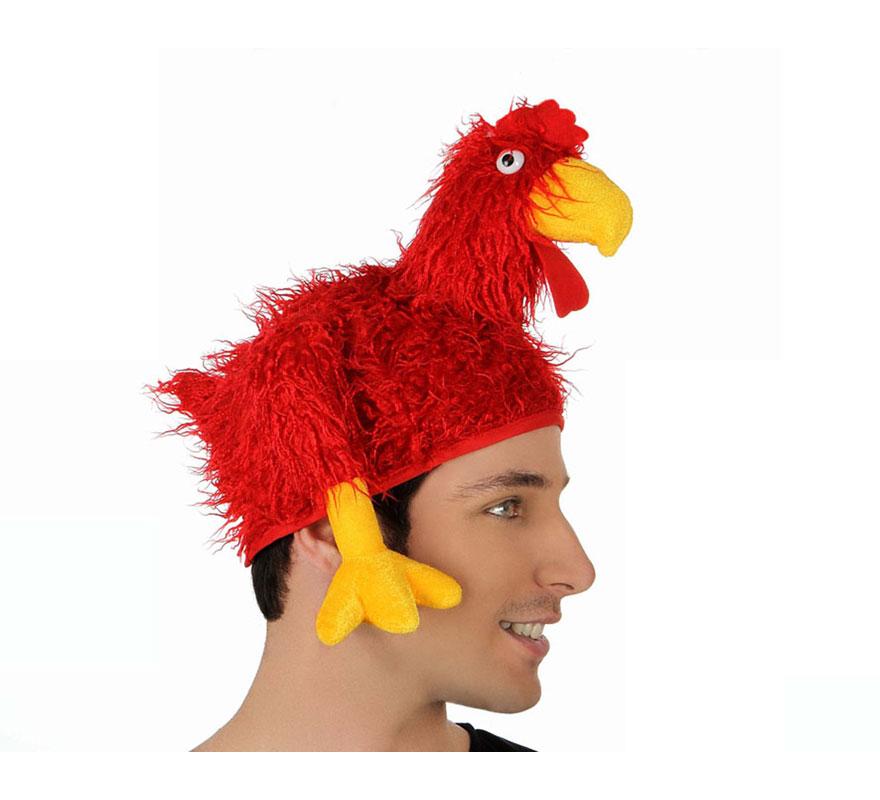 Sombrero o Gorro de Pollo o Gallo rojo. Perfecto para Despedidas de Solteros.