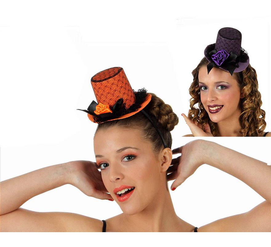 Mini sombrero de Copa o Chistera de encaje de 8 cm. con diadema. Talla universal. Tres colores surtidos. Precio por unidad, se venden por separado.