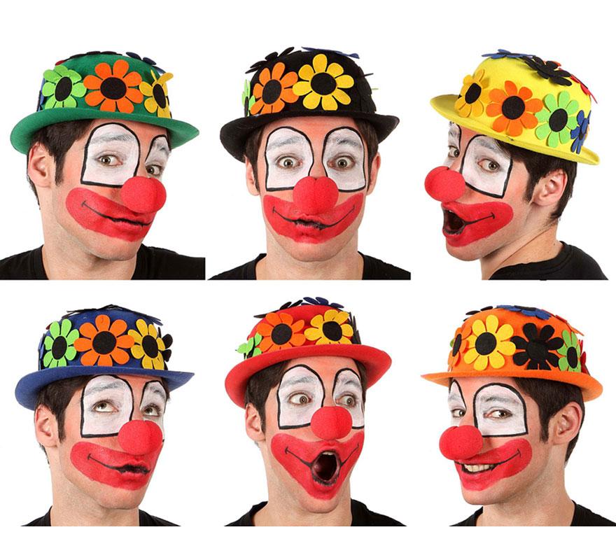 Sombrero Bombín de Payaso con flores de fieltro. Seis colores surtidos. Precio por unidad, se venden por separado. Talla universal.