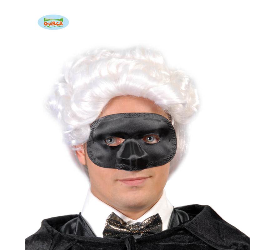 Antifaz Colombina seda negro. Antifaz Veneciano de seda negro.