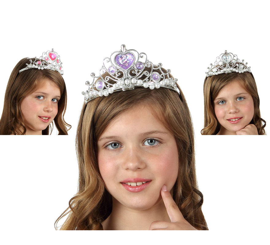 Diadema o Corona de Princesa con perlas 3 colores surtidas. Precio por unidad, se venden por separado.
