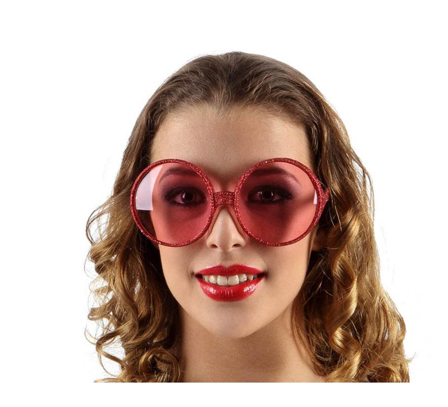 Gafas de Sol redondas de los Años 60 rojas.