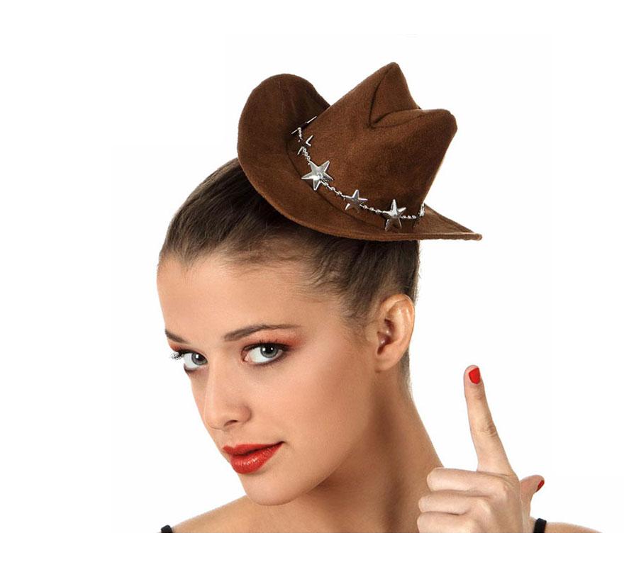 Sombrero o gorro Mini de Cowboy o de Vaquero marrón. Perfecto para Despedidas de Soltera.