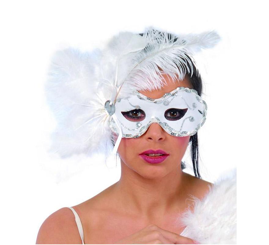 Antifaz Veneciano blanco con plumas y lentejuelas.