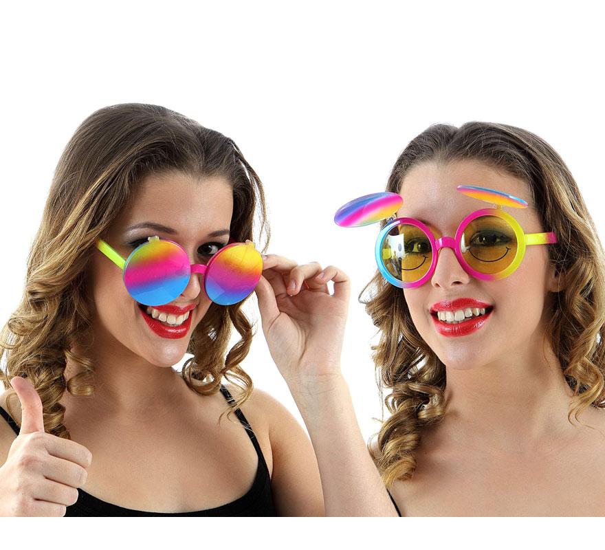 Gafas de Sol Sonrisas en cristales amarillos de los Años 60 multicolor con tapas.