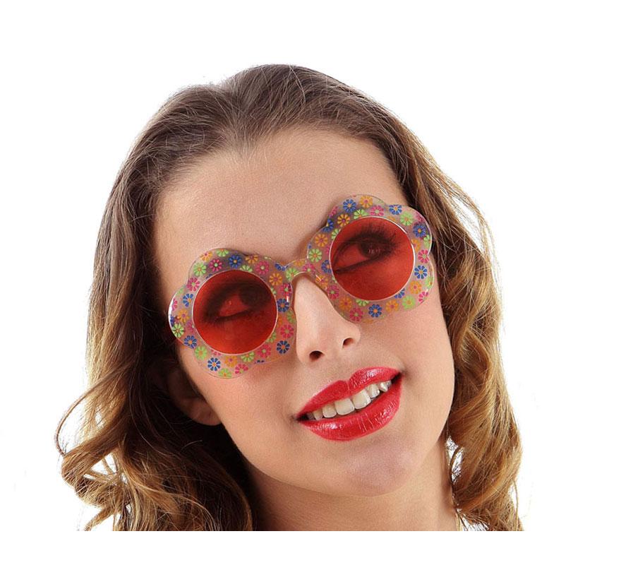 Gafas de Hippie o Flower Power rojas con flores.