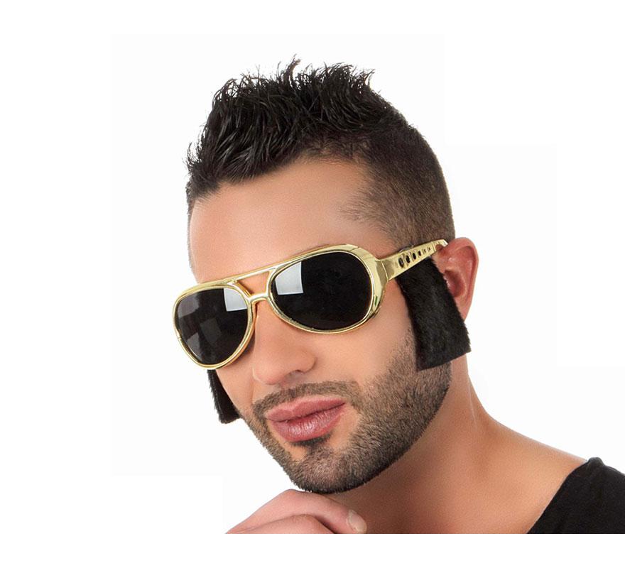 Gafas de Rockero doradas con patilla negras. Gafas de Elvis con patillas.