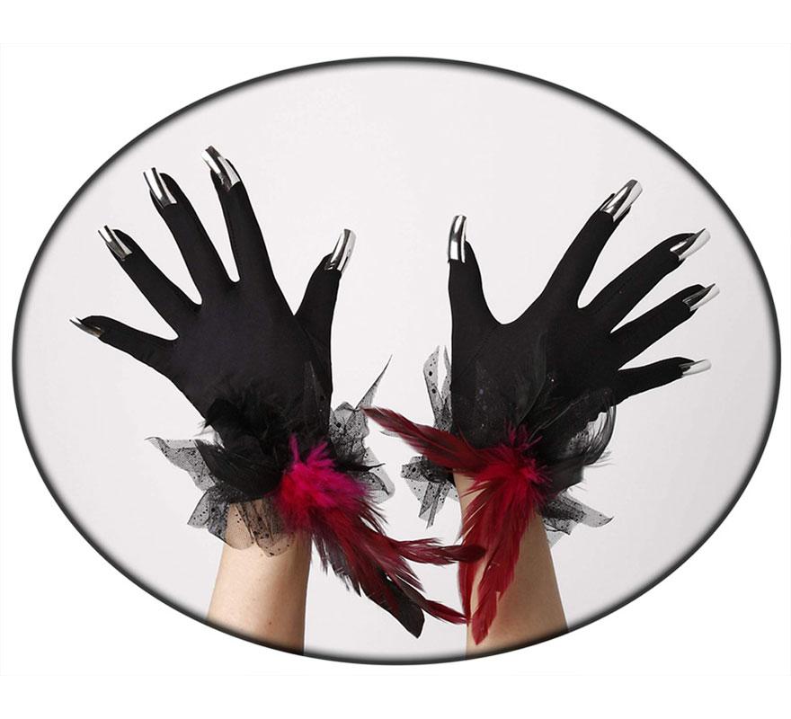 Guantes negros con uñas y plumas.