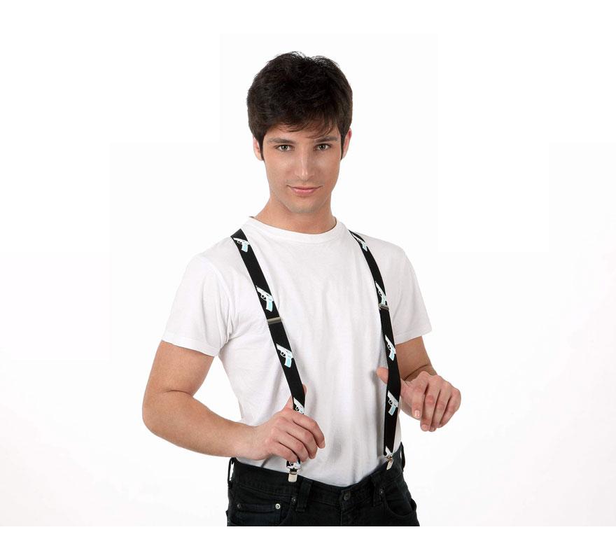 Tirantes negros con pistolas serigrafiadas. Ideal para el disfraz de Gánster.