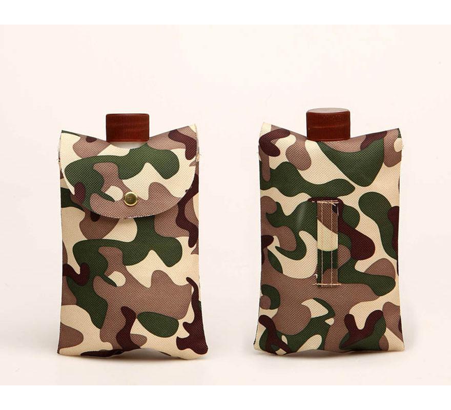 Cantimplora Militar o del Ejército de Camuflaje con funda para colgar de 16 cm.
