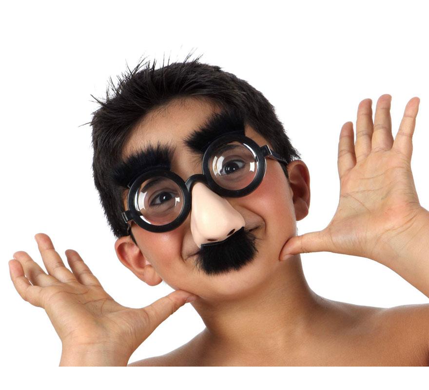 Gafas cristales gruesos con nariz, bigote y cejas.