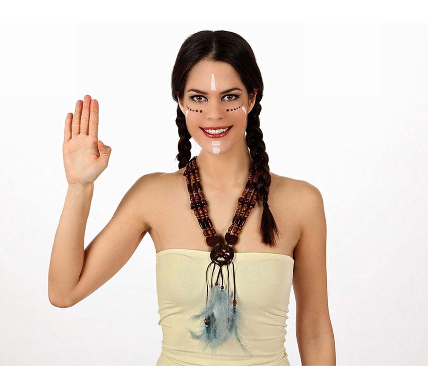 Collar de India con plumas azules. Collar de Avatar.