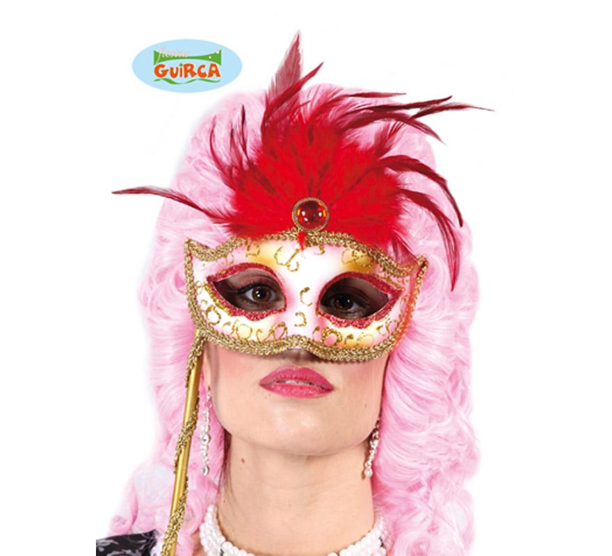 Antifaz Veneciano Lady con plumas rojas y soporte.