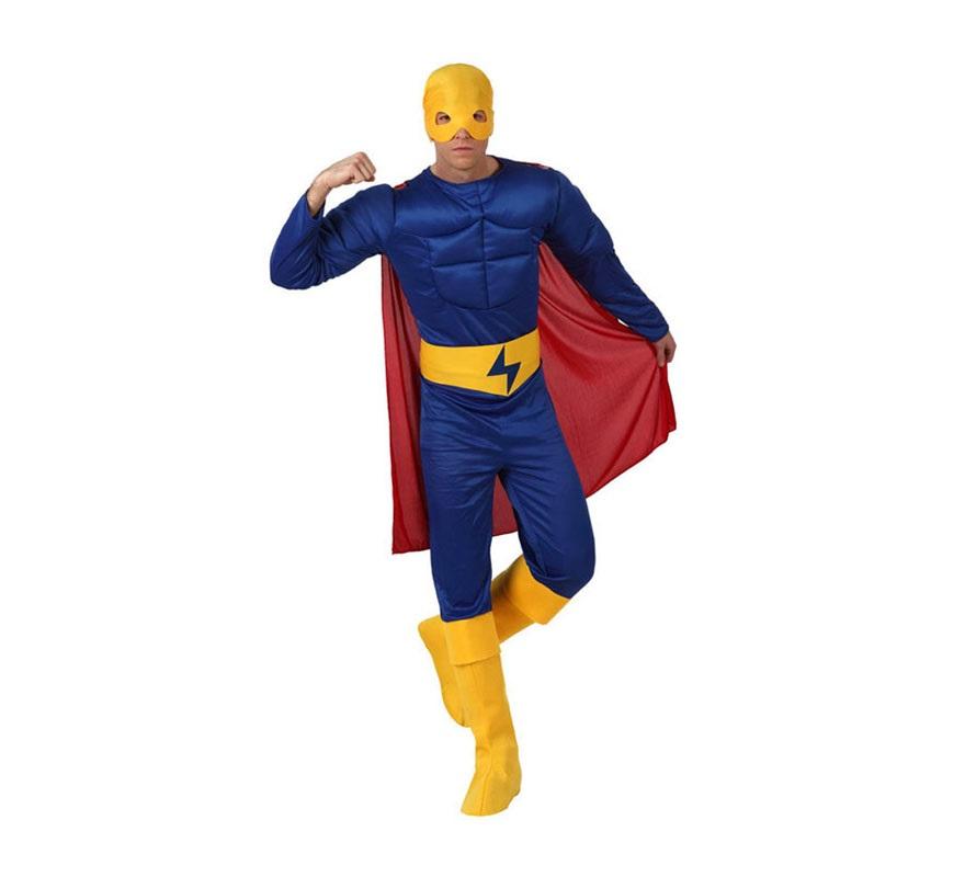 Disfraz de Superhéroe Musculoso azul para hombre. Talla 3 ó talla XL 54/58. Incluye mono con músculos, cinturón, capa, antifaz y cubrebotas.