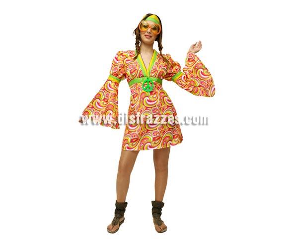 Vestido o disfraz super barato de mujer Hippie. Talla M-L = 38/42. Incluye vestido y cinta de la cabeza. Gafas y collar símbolo de la Paz NO incluidos, podrás verlos en la sección de Complementos.
