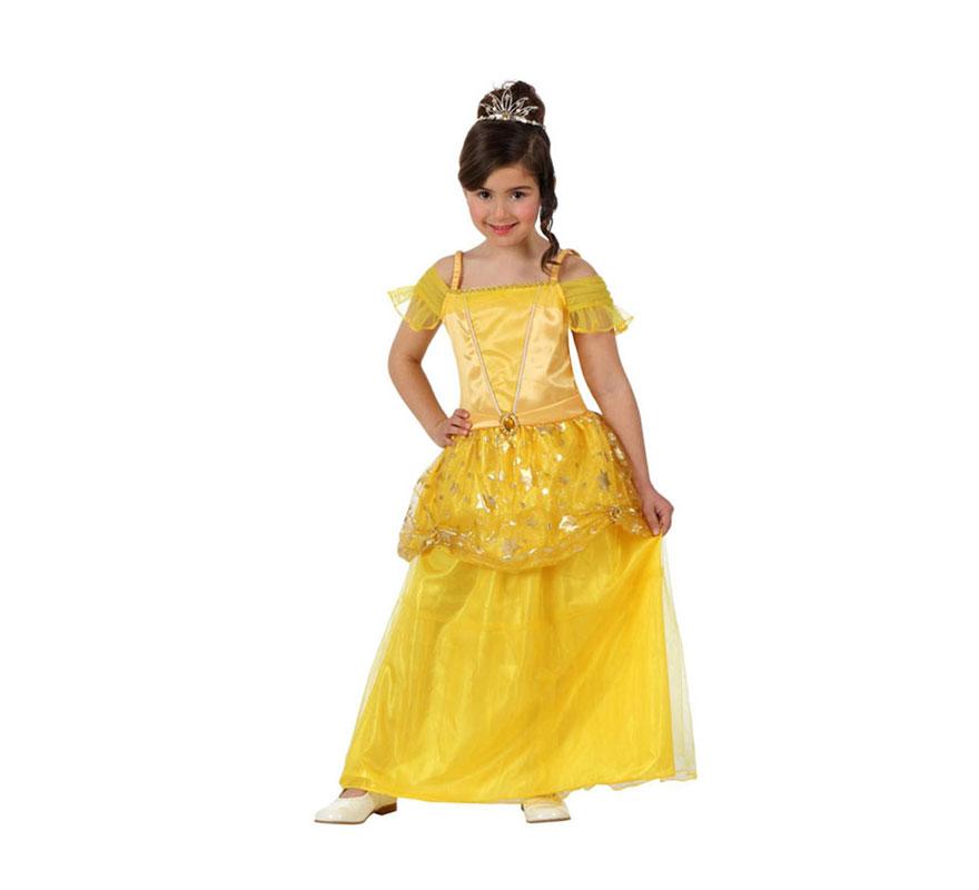 Disfraz de Princesa amarilla para niñas de 7 a 9 años. Incluye vestido. Corona y zapatos NO incluidos. La corona podrás verla en la sección de Complementos. Disfraz de la Bella para niñas.